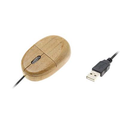 bamboo encased USB computer mouse