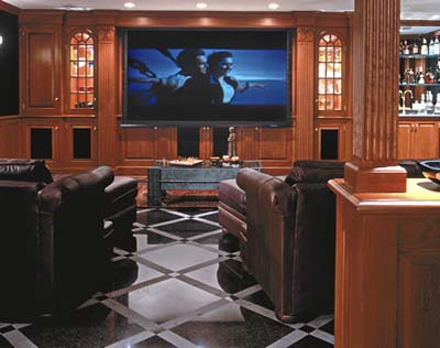 home theater in basement