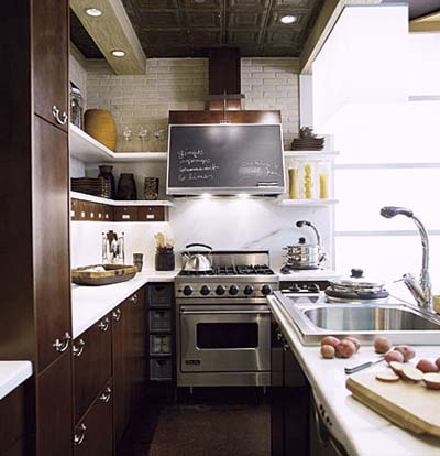 industrial-style galley kitchen
