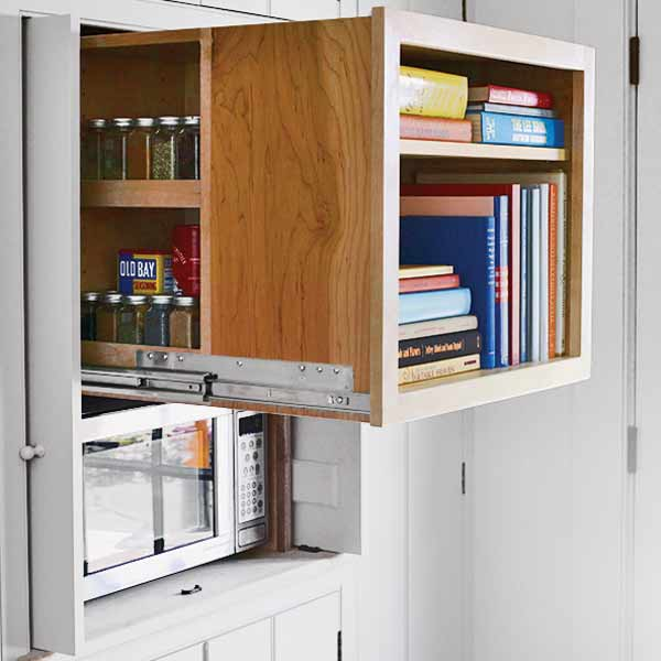 slide out storage makes use of deep space behind cabinet doors