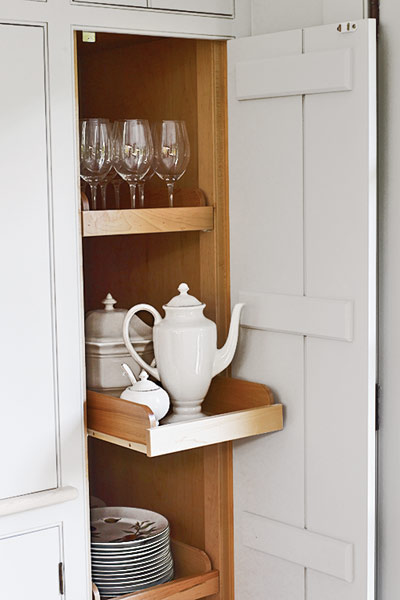 cabinet and open shelve storage