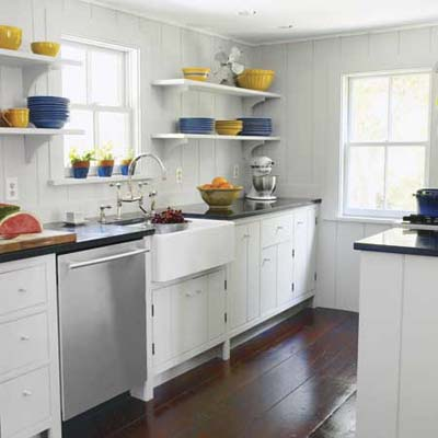remodeled galley kitchen from older u-shaped design