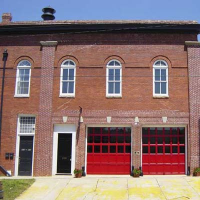 brick firehouse turned art gallery