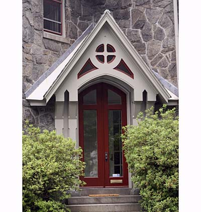 Exterior paint on Gothic-style entry