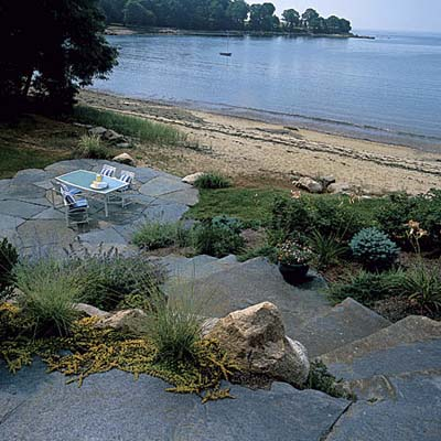 Finished stone patio on the beach