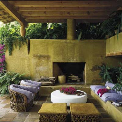 outdoor room with couches