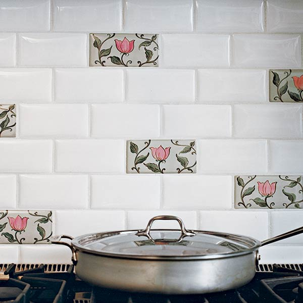 White tile with green and pink flowers