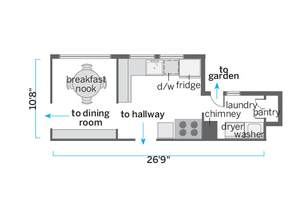 before floorplan of 1928 kitchen