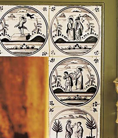 Colonial-era mulberry Delft pictorial tiles