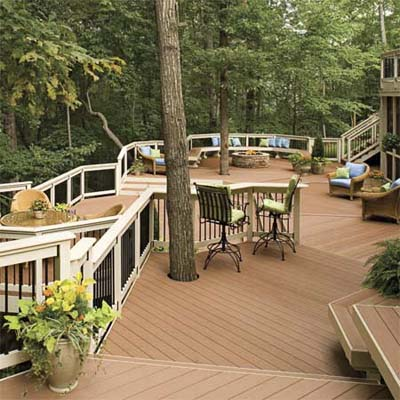 multi-level deck that winds in and around trees