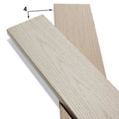 PVC and flax fiber boards used in deck construction