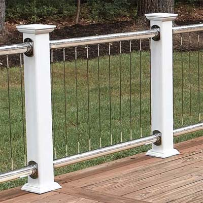stainless-steel cables between steel rails and vinyl-clad wood posts