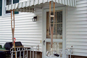 crutches holding up an entry awning