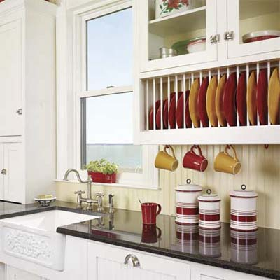 plate rack with colorful dishes