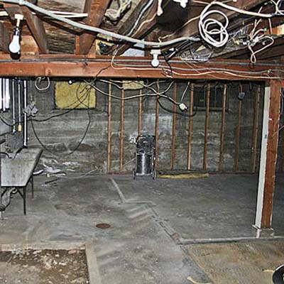 basement family room before remodel