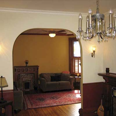 Queen Anne Revival living room after remodel