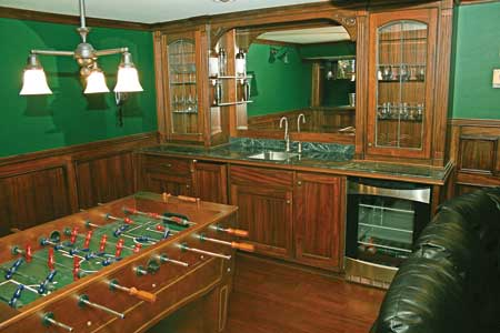 basement family room with pool table