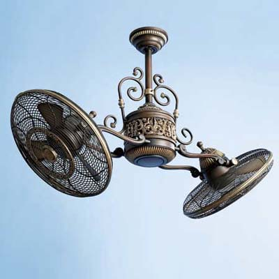 Victorian-style ceiling fan with two rotating ventilators