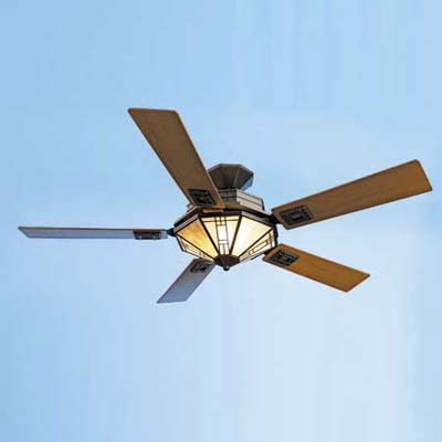 ceiling fan with an Arts and Crafts design and teak-veneer blades