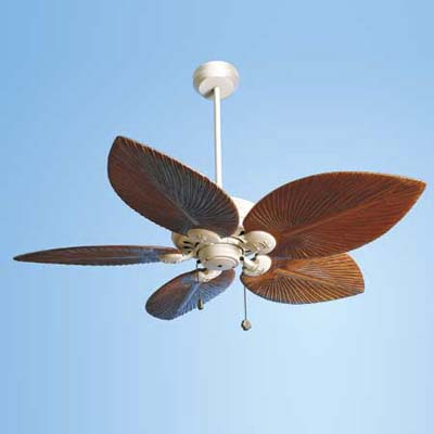 ceiling fan with oak blades hand-carved to look like palm fronds