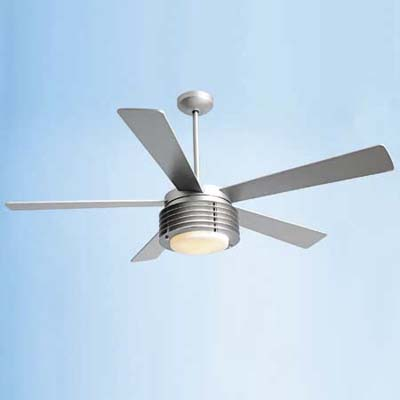 Art Deco–inspired ceiling fan in matte nickel