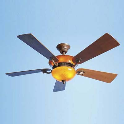ceiling fan with an amber, blown-glass uplight