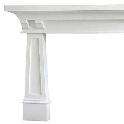 modern white mantel with tapered legs