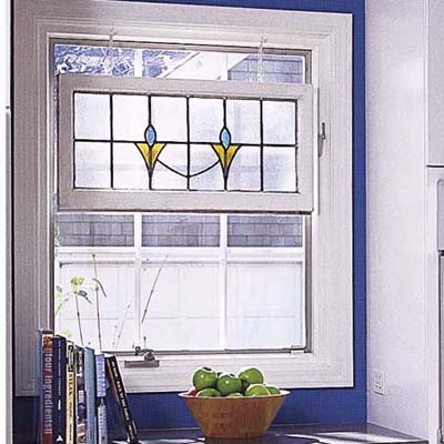 blue kitchen window