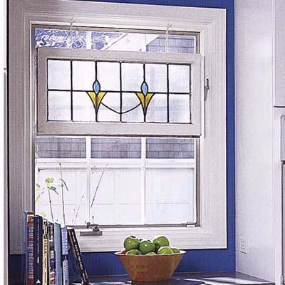 blue kitchen window
