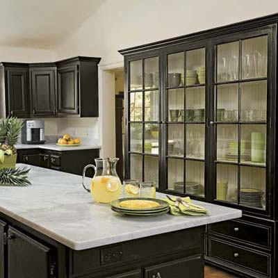 glass door cabinets and kitchen island