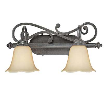 upgrade with this double-lamp wall fixture in glass and wrought iron