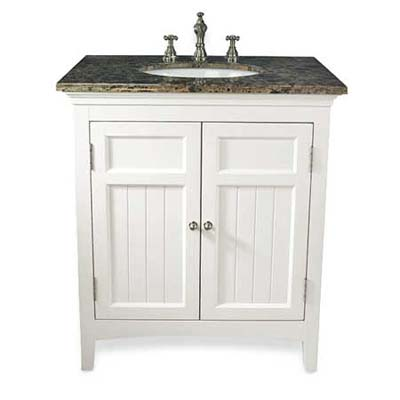 upgrade with this painted white wood vanity from expo design centers
