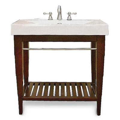 upgrade with this porcelain and stained-wood vanity from expo design centers
