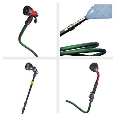 Let us spray green red garden hose nozzle