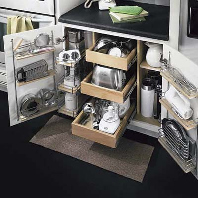 create storage areas down below, such as this multidimensional pull-out shelf