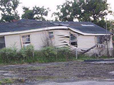 wrecked house in Lower Ninth Ward