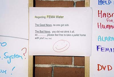 FEMA water sign, Camp Hope