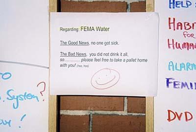 FEMA water sign, Camp Hope