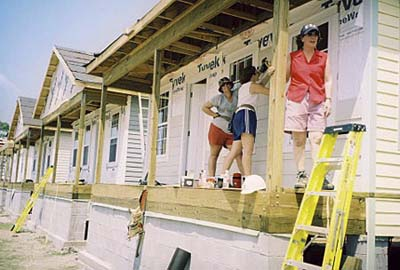 hanging siding in the Musicians Village, New Orleans