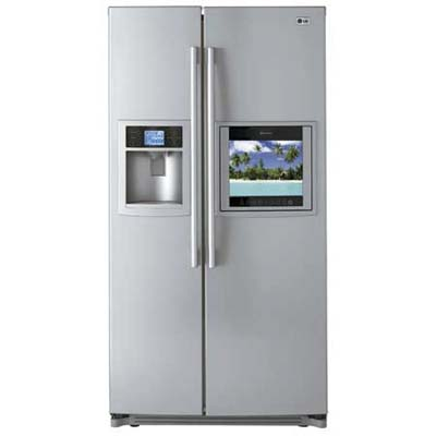 LG refrigerator with an LCD screen built in