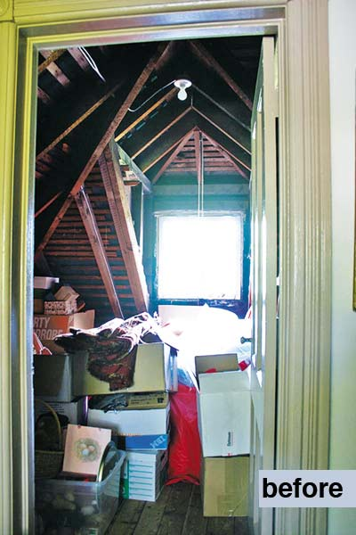 unfinished storage space in the attic