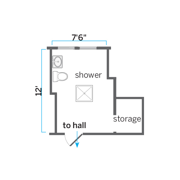 before floor plan of attic bathroom