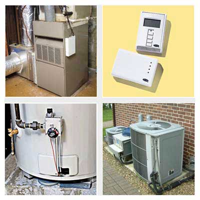 furnace, thermostat, boiler, heating/cooling unit, HVAC