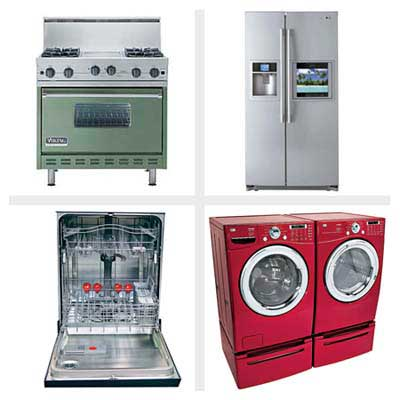 stove, refrigerator, dishwasher, washer/dryer