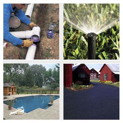 PVC piping, sprinkler, swimming pool, asphalt driveway