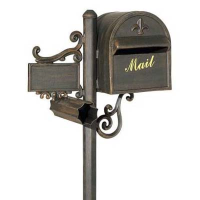 customizable post-mount mailbox from fleur de lis with newspaper slot and scroll pattern