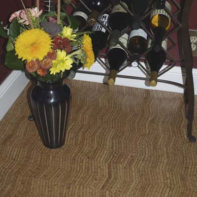 veneer cork flooring made by Expanko in a corner of room underneath a wine rack