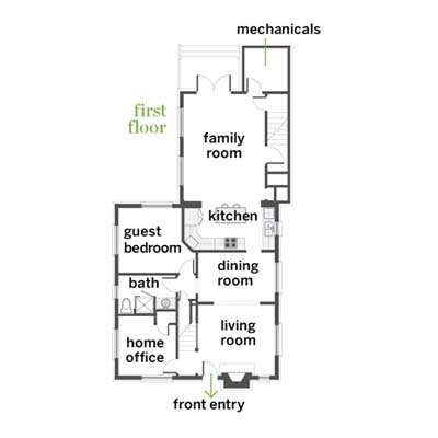 1st floor plans at a cottage remodel in Austin, TX