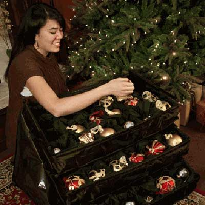 telescoping ornament storage for storing layers of x-mas ornaments