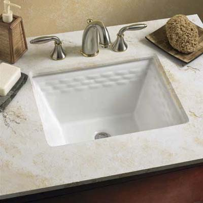 vitreous china undermount sink featuring a delicate, basket-weave pattern